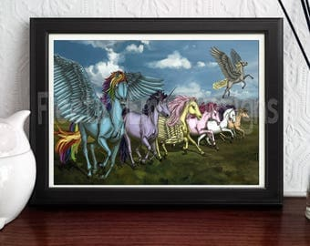 Friendship is Magic MY LITTLE PONY Realistic Art Print Poster Illustration Painting