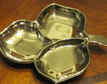 Silver Glass Divided Leaf Relish Dish