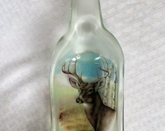 Deer, melted bottle, deer, buck, wildlife, slumped bottle, wine bottle, snack dish, candy dish, spoon rest, recycled glass, bottle art