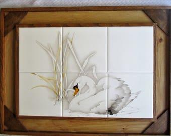 Swan on the Lake, tile wall hanging, wall decor, decorative tile, tile mural, decorative tile, swan, lake, framed tile, framed art, tile art