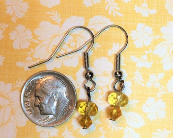 Canary & citrine yellow glass bead earring
