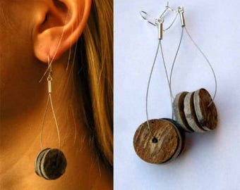 Silver earrings, earrings, silver, grey shell black, black, handmade new