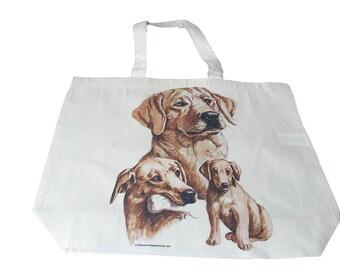 Golden Labrador  Dog  Printed Bag  100% Cotton Tote  Shopper Bag For Life