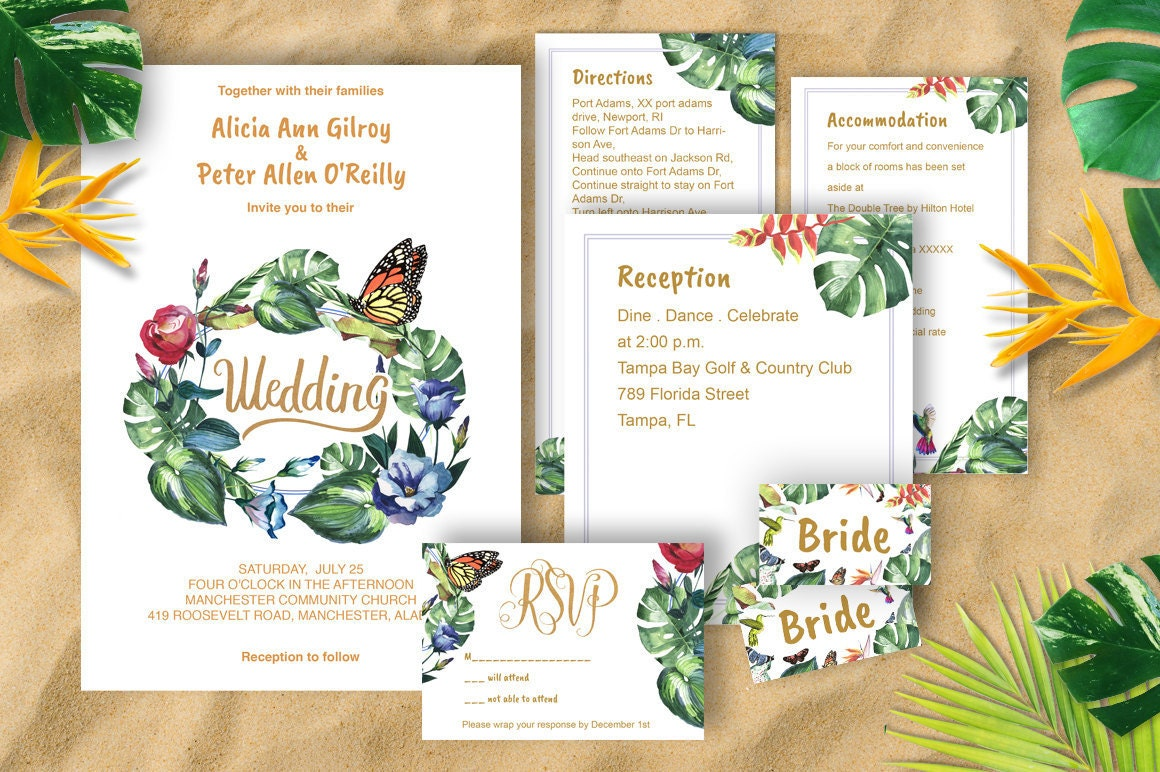 Tropical Wedding Invitations: Tropical Wedding Invitation Template Download Watercolor