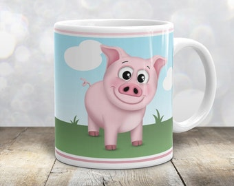 Happy Pink Pig Mug - Cute Pink Smiling Piggy - Blue Sky and Green Grass - 11oz or 15oz