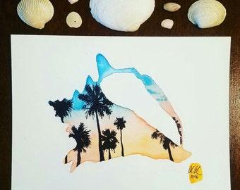 Seashell watercolor print, Watercolor painting, Home decor wall art, Watercolor art, seashell silhouette, Palm trees.