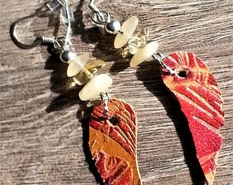 Leather feather with glass and agate chip earrings  -- SALE 20% off