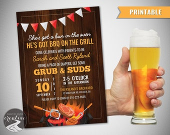 PRINTABLE Beer and BBQ Dad Diaper Party Invitation, Bun in the Oven BBQ on the Grill Invite, Father Dad Man Shower, Burgers, Digital File