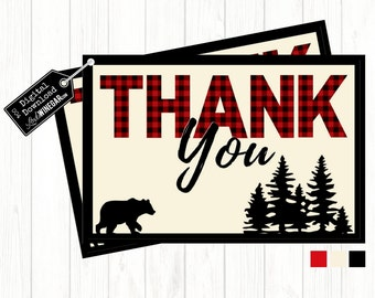 Lumberjack Woodland Thank You Cards, Plaid Baby Shower Thank You Cards | INSTANT Download 4x6 JPG