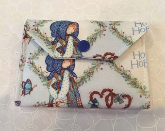Holly Hobbie change wallet, women's wallet, bifold wallet, cotton wallet, handmade wallet