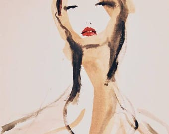 Fashion illustration - Girl in red lips