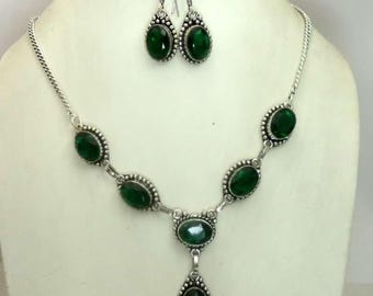 Green Topaz 92.5 Silver Natural Gem-Stone Handmade Necklece Set