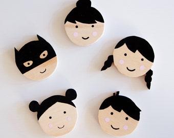 Kids Wall Hook - Happy Little Faces
