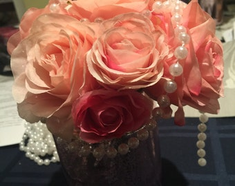 Shabby chic rose centerpiece so