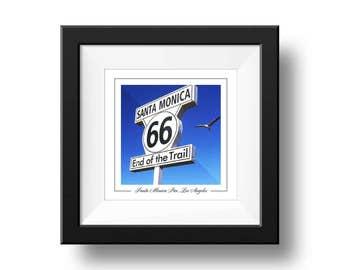 Santa Monica Pier sign Print, Los Angeles Photograph, Square Wall Art