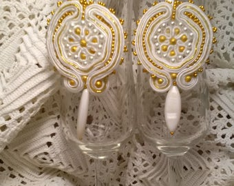 White and golden Bride earrings. Soutache earrings. Guest earrings. White earrings. Valentine's Day gift.
