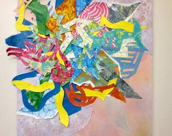 Vibrant Geometric Collage Painting