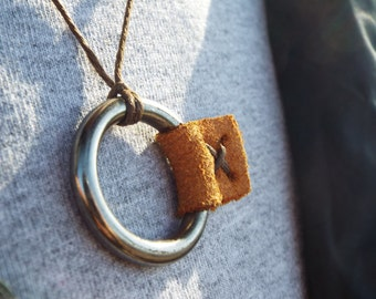 Ring necklace                                             out doors, leather, alloy, homemade. unique