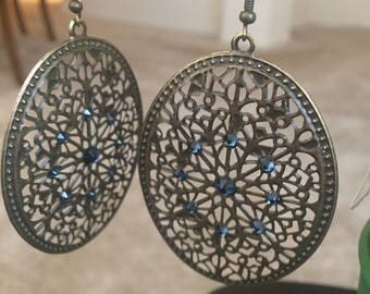 Filigree and Swarovski crystal earrings