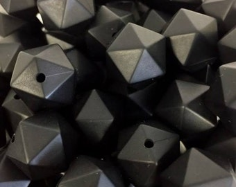 14mm - Black Icosahedron Silicone Beads, Silicone Teething Beads, 100% Food Grade Silicone Beads, BPA Free, Silicone Loose Bead