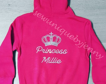 Personalised Rhinestone Crown Hoodie