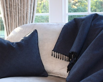 Beautiful handmade bed throw in midnight blue contemporary textured fabric