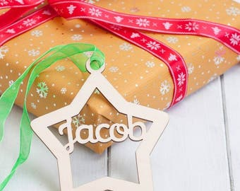 Personalised Birchwood Star Christmas Baubles