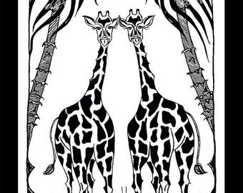 Funny giraffes  2015 Original graphic for digital printing 3 sizes in the set A1  A2  A3 CMYK Wall Art decoration Large Wall Art White Black