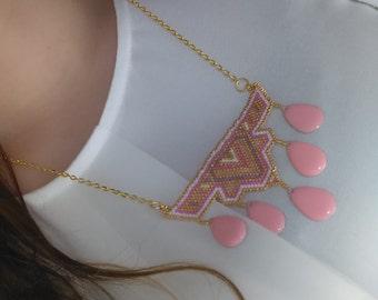 Beads miyuki, geometric pattern necklace