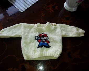 Hand Knitted Retro Gaming Mario Baby Jumper 0 -3 Months
