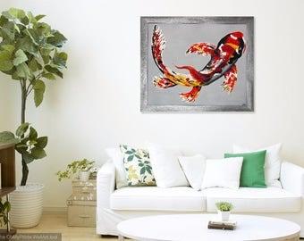 "Abstract Acrylic  ""Koi"" on Canvas, Framed, 3D Effects"