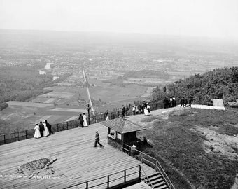 "1908 View from Mount Tom, Holyoke, Massachusetts Vintage Photograph 13"" x 19"""