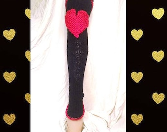 Chelsea Leg Warmers - Dance Leg Warmers - Woman's Leg Warmers - Knit - Crochet - Thigh High - Knee Pads – Black with Red – Slim and Sassy