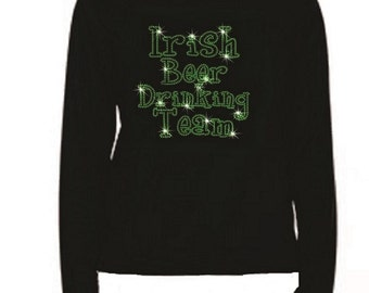 Rhinestone Irish Beer Drinking Team Women T Shirt                                LR T7Z8