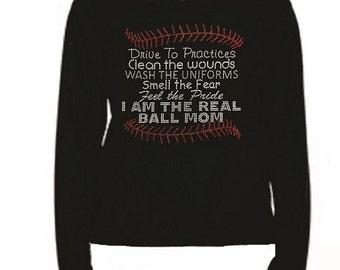 Rhinestone The Real Baseball T Shirt                                                                  PK3X