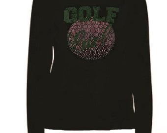 Rhinestone Golf Girl  Crystal and Green Lightweight T-Shirt    or  DIY Iron On Transfer                        golf girl