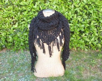 Handmade hand knitted triangle fringed scarf