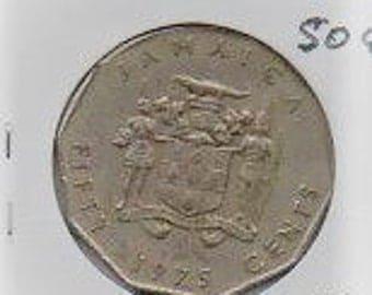 1975 Jamaica half dollar. F.  FREE SHIPPING!!!