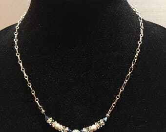 Silver chain with Swarvoski blue and clear crystals