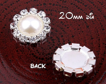 20mm Clear Alloy Crystal Flatback Buttons for Baby Girls Hair Accessories/Ornaments Bling Metal Rhinestone Buttons