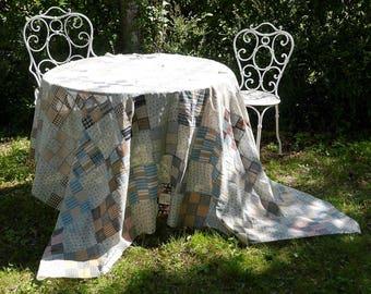 Patchwork - quilt top - top - nine patch - print chest and stripes fabrics - vintage-1990-160 cm x 210 cm