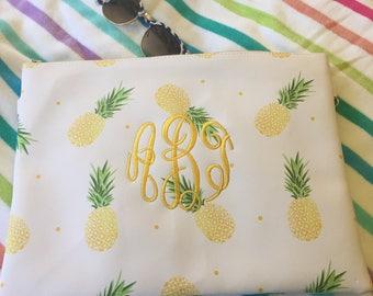 Monogrammed Pineapple Print Swimsuit Wet/Dry Bag