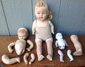 Various Antique Doll Parts