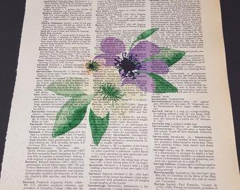 Vintage Dictionary Print - Flower
