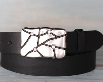 Leather Belt, Black Leather Belt, Mens Belt, Womens Belt