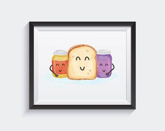 Peanut Butter Jelly, Watercolor Print, Best friends forever, Best friend Gift, Birthday Gift, BFF, PBJ, Watercolor Poster, Sandwich Print