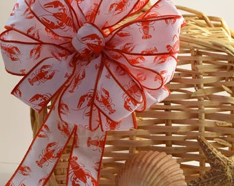 Lobster Bow, Clam Bake Bow, Summer Bow, Red and White Bow, Ocean Themed Bow, Beach Bow, Nautical Bow, Wreath Bow, Basket Bow, Decorative Bow