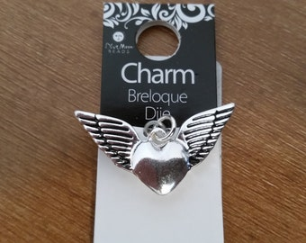 Sterling silver plated winged heart charm