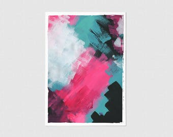 Aqua Color Block Blank Greeting Card