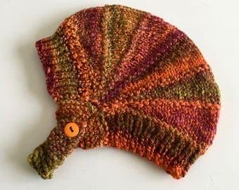 Newborn Knit Beanie - Knitted Baby Beanie - Baby Beanie - Aviator Beanie - Knit Baby Hat - Neutral Baby Beanie - Burnt Orange - Baby Gift
